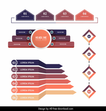 infographic templates modern colorful flat 3d shapes