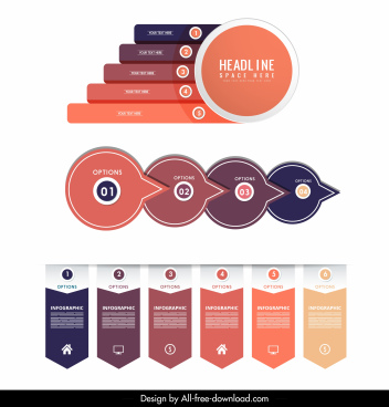 infographic templates modern flat bars stickers circles decor