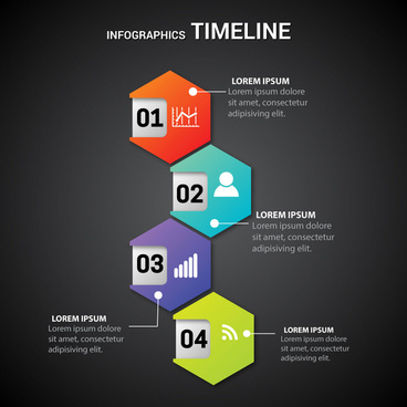 infographic timeline illustration with hexagons on dark background