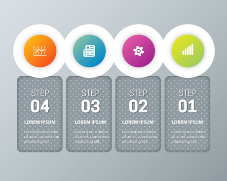 infographic vector design with circles and vertical tabs