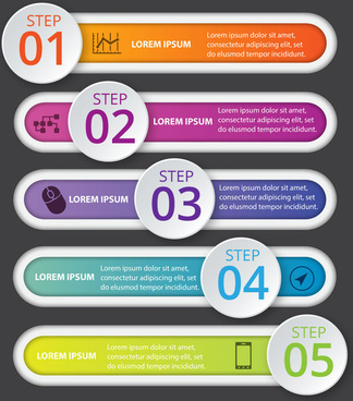 infographic vector design with horizontal tab and circles