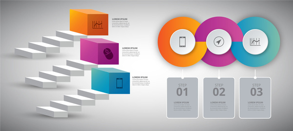 infographic vector illustration with 3d steps and circles