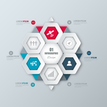 infographic vector illustration with hexagons combination