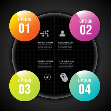 infographic vector illustration with round pies black background