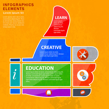 infographic vector illustration with thump up hand