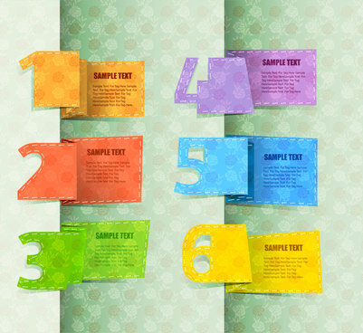 infographic vector with colored card and numbers illustration