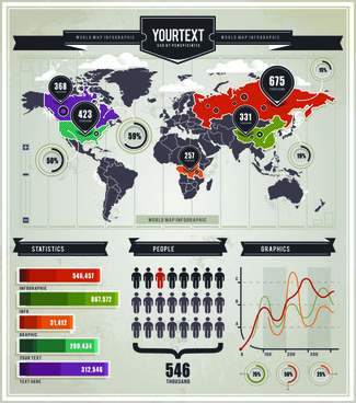 infographics and world map creative vector