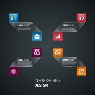 infographics design dark background curved ribbons decoration style