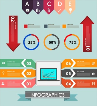infographics vector illustration with arrow and circles