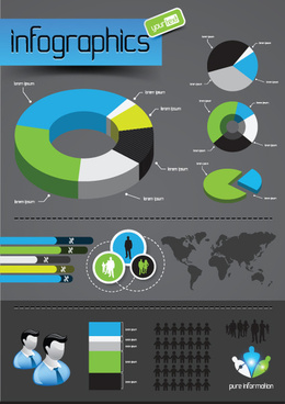 infographics with economy elements vector graphics