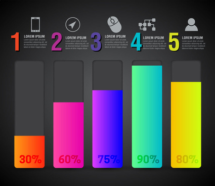 inforgraphic illustration with colored columns and percentage