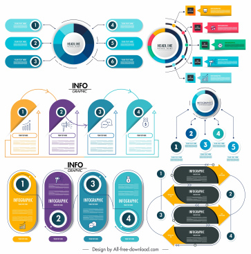 inforgraphic templates colorful modern shapes