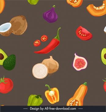ingredient foods background dynamic design colorful retro handdrawn