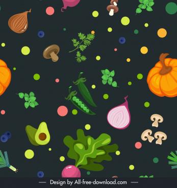 ingredients background template dynamic flat vegetables fruits sketch