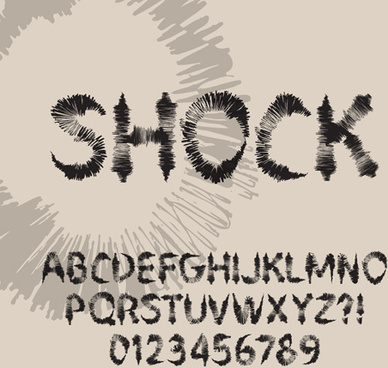 ink alphabet with numbers hand drawn vector