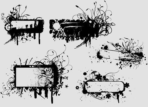 ink floral frame vector design