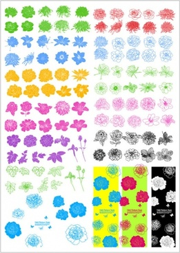 ink flowers vector line draft