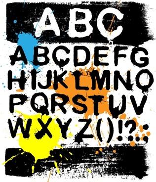 alphabet background grunge inks decor retro design