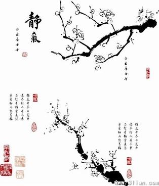 oriental flower painting retro black white ink sketch