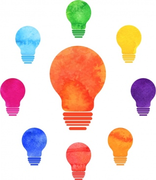 innovation concept background colorful light bulbs icons