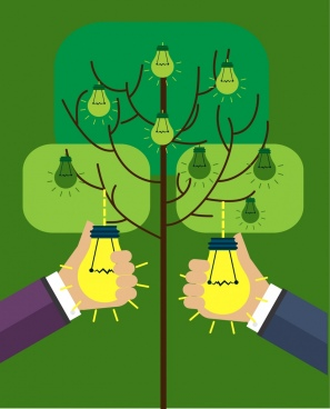 innovation concept design hand picking lightbulbs on tree