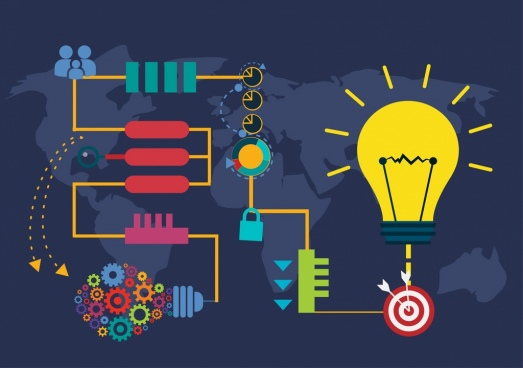 innovation infographic colorful lightbulb gears target decoration