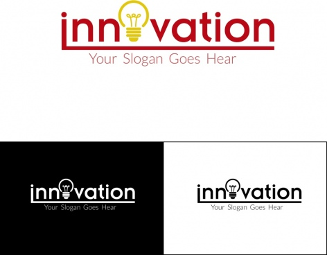 innovation slogan sets texts light bulb decoration