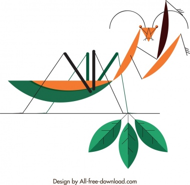 insect background grasshopper icon flat geometric sketch