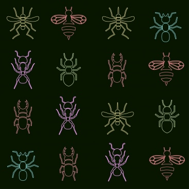 insect background various colored icons isolation repeating style