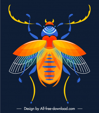 insect creature icon colorful flat symmetric sketch