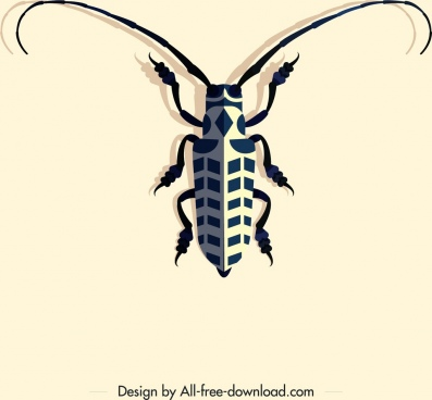 insect icon long antenna 3d geometric decor