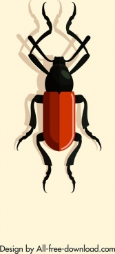 insect icon shiny red black 3d design