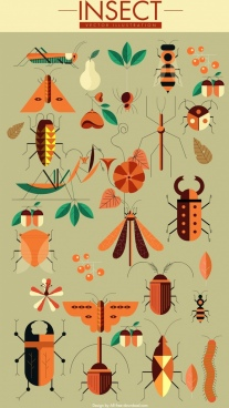 insect icons collection classical colored geometric design