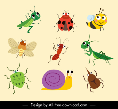 insect species icons cute carton characters handdrawn sketch
