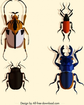 insect species icons dark colored 3d design