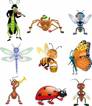 insect icons stylized cartoon design colored modern design