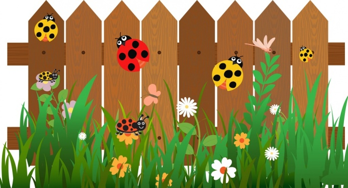 insects background ladybugs on garden fence decor