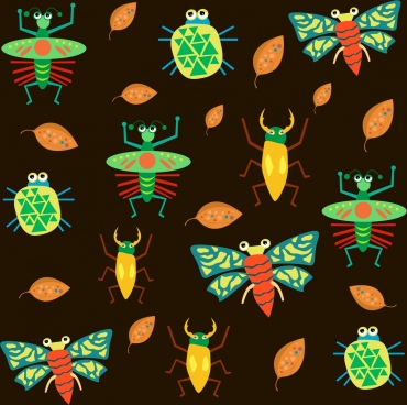 insects background multicolored icons decor repeating design