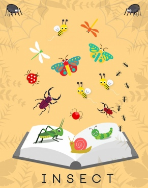 insects background various colorful emblems decoration book icon