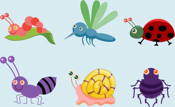 insects icons collection various colored symbols
