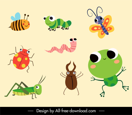 insects icons colorful flat cute cartoon sketch
