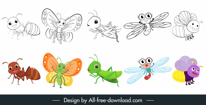insects icons cute cartoon sketch