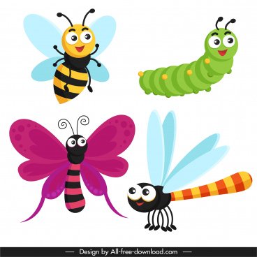 insects icons cute cartoon sketch modern design