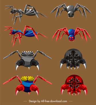 insects robots icons colored modern design