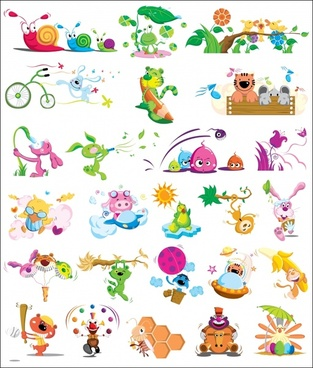 animal icons colorful design cute funny cartoon sketch
