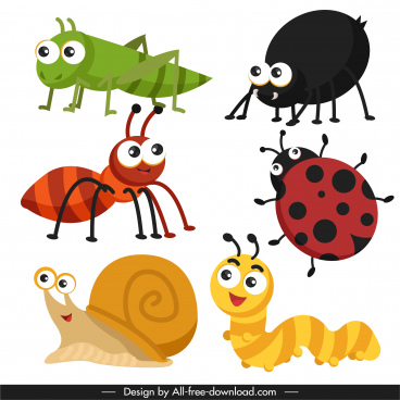 insects species icons colorful cute cartoon sketch