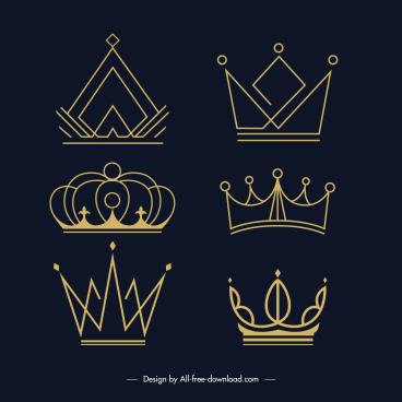 insignia corwn icons flat handdrawn symmetric sketch