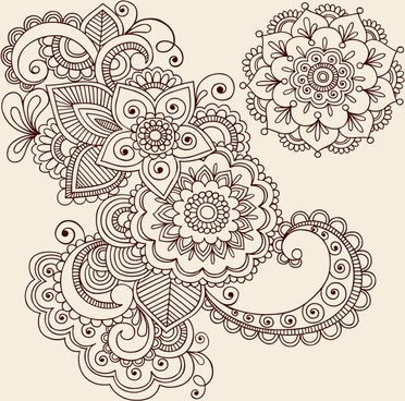 decorative patter classical oriental decor flowers sketch