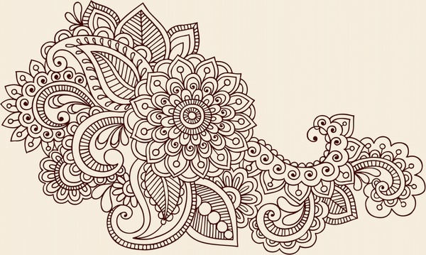 decorative element classical doodle european flower sketch
