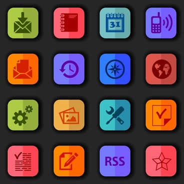 interface icons sets design with colors flat style